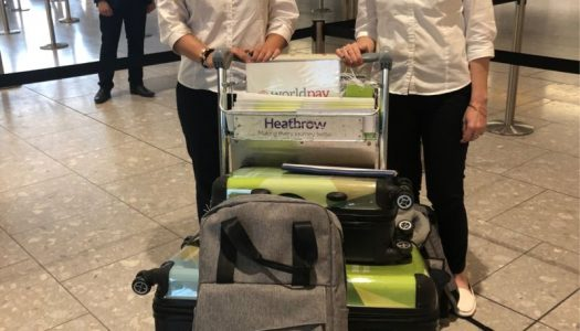 Here Ellie and Fiona were ready to welcome a group at London Heathrow